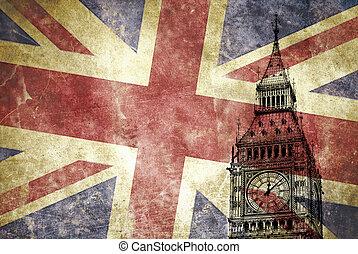 big ben, con, unión jack, bandera