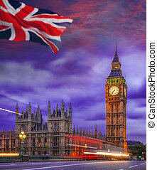 Big Ben during colorful evening in London, England, UK