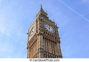 Big Ben Elizabeth tower clock face, Palace of Westminster, London, UK