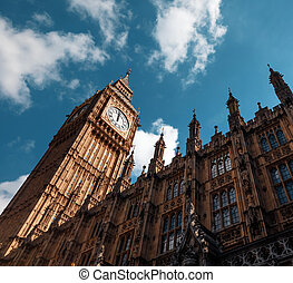 Big Ben (Elizabeth Tower) in London - Big Ben, London, UK. A...