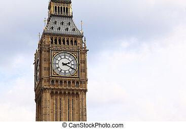 big ben, es, un, famoso, inglés, reloj, carillones, en, el,...
