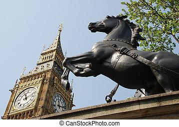 Big Ben & Horse - The Big Ben and a bronze statue of a...