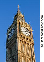 Big Ben Houses of Parliament clock tower in London UK.