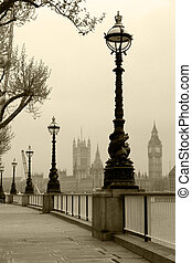 Big Ben & Houses of Parliament, view in fog in sepia tone