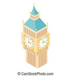 Big Ben icon, cartoon style