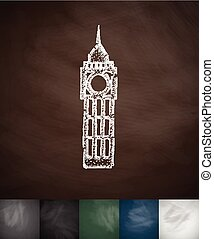 Big Ben icon. Hand drawn vector illustration