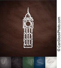 Big Ben icon. Hand drawn vector illustration