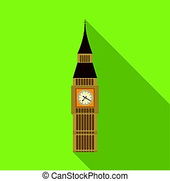 Big Ben icon in flat style isolated on white background.