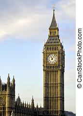 Big Ben in a golden haze in London
