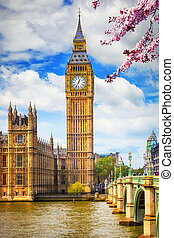 Big Ben in London at spring