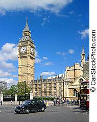 Big Ben in London, blue sky