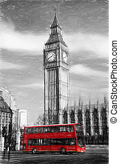 big ben, in, london, england, vereinigtes königreich, kunstwerk, stil