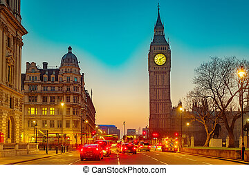 big ben, in, london, nacht