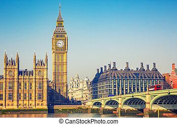 Big Ben in London - Big Ben and westminster bridge in London