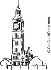 Big Ben in London - Big Ben tower in London for travel...