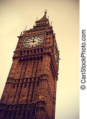 big ben, in, london, vereinigtes königreich, mit, a, retro, effekt
