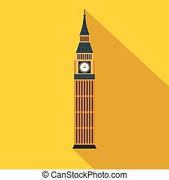 Big Ben in Westminster, London icon, flat style