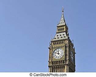 Big Ben isolated against a blue sky