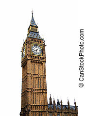"""Famous British clock tower """"Big Ben"""" isolated on white"""