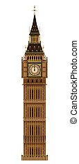 Big Ben Isolated - The London landmark the Big Ben...