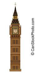 Big Ben Isolated - The London landmark the Big Ben...