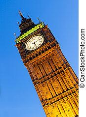 big ben, london, an, dämmerung