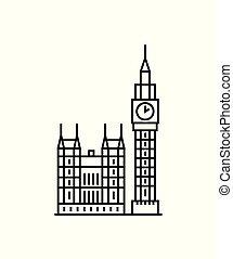 Big ben London clock icon. sign design vector illustration.