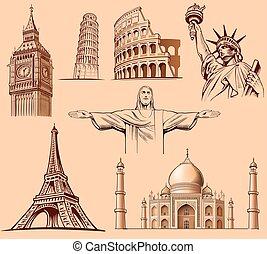 Big Ben London, Eiffel tower Paris, Roma Colloseum, Pisa, Statue of liberty NYC, Taj Mahal