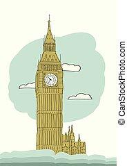 Big Ben, London, England, UK. Hand Drawn Illustration....