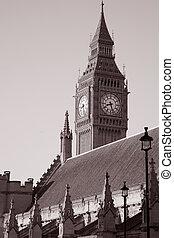 Big Ben, London, England, UK in Black and White Sepia Tone