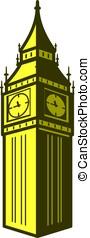 Big Ben, London, landmark flat icon design