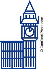 Big ben london line icon concept. Big ben london flat  vector symbol, sign, outline illustration.