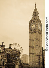 Big Ben London picture. Old time style image of Big Ben in London England.