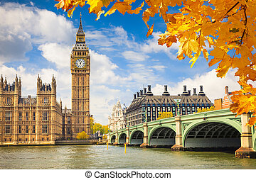Big Ben, London - Big Ben with autumn leaves, London