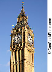 Big Ben, London with a blue sky.