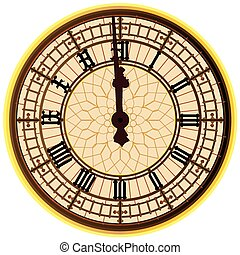 The clock face of the London icon Big Ben showing 12 o clock