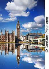 big ben, mit, brücke, in, london, england