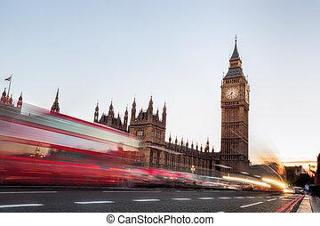 big ben, mit, stau, in, der, abend, london, vereinigtes...