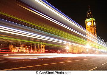 big ben, mit, verwischt, lichter, an, dämmerung, london
