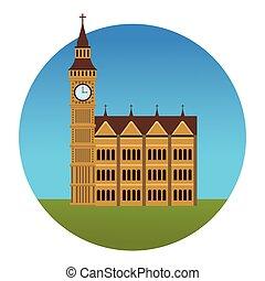 big ben monument round icon vector illustration graphic...