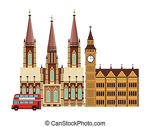big ben monument with cathedral and double decker bus in...