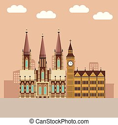 big ben monument with cathedral in cityscape vector...