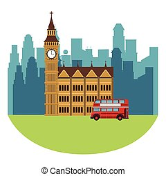 big ben monument with double decker bus in cityscape vector...