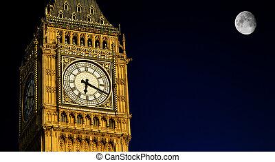 big ben, nacht, mit, vollmond, london