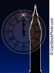 Big Ben New Years Clock Face - Big Ben at new year with the...