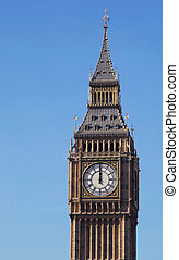 big ben noon - london's big ben clock tower striking noon
