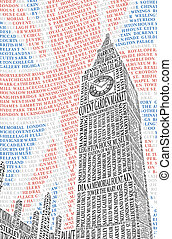 Big Ben of the names of London attractions. Vector...