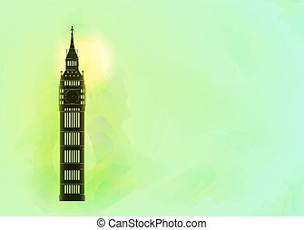 Big ben on colorful background. London sight.