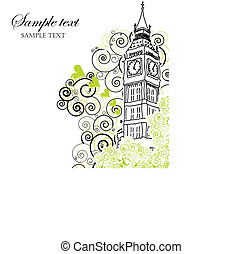 Illustration of Big Ben famous London Landmark.