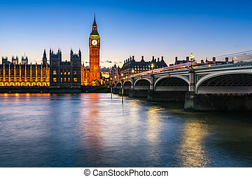 Big Ben, Queen Elizabeth Tower and Wesminster Bridge...